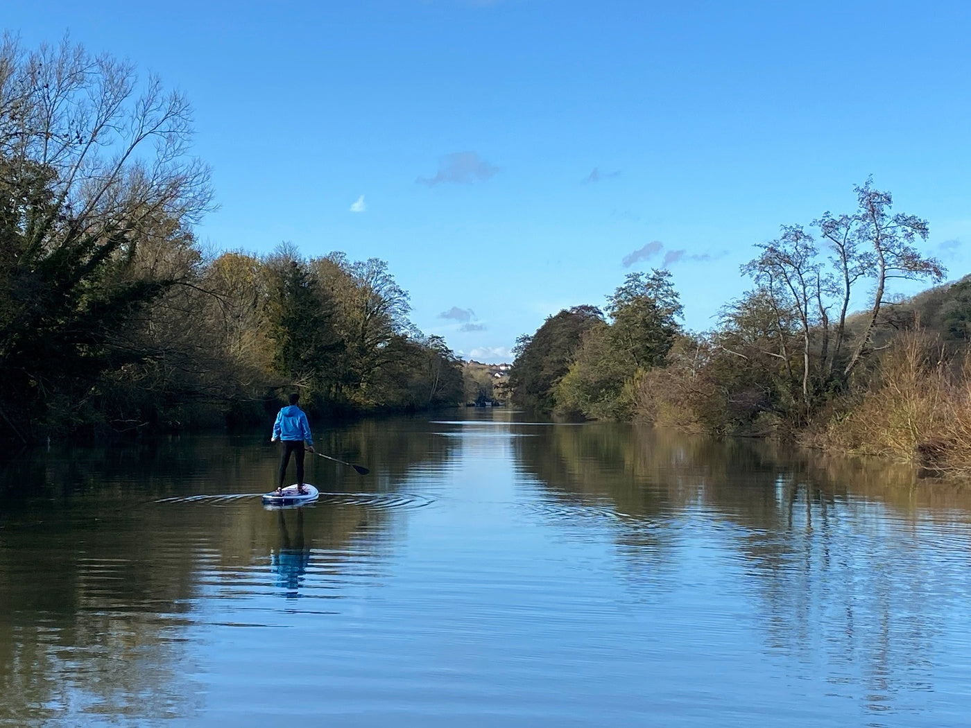Phil Williams exploring the rivers and waterways near his home on a SUP