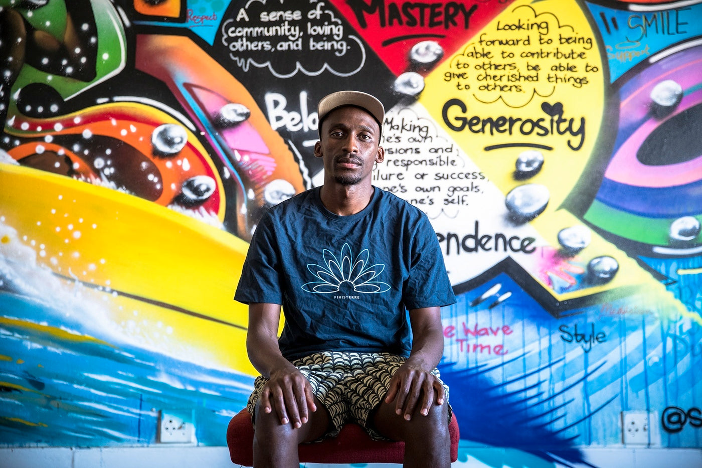 Finisterre Ambassador Apish Tshetsha at the Waves for Change HQ in Cape Town