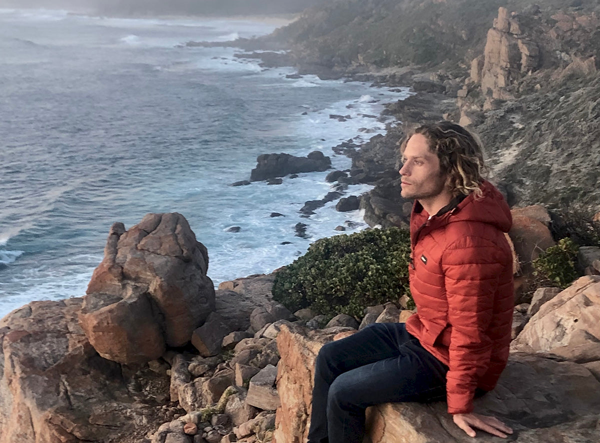 Pete Geall wearing his red Nimbus jacket at Wilyabrup