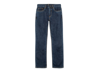 Front of mens bright indigo straight fit organic cotton denim jeans by Finisterre