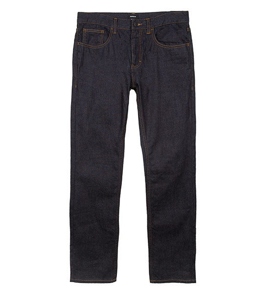 Front of mens indigo straight fit organic cotton denim jeans by Finisterre