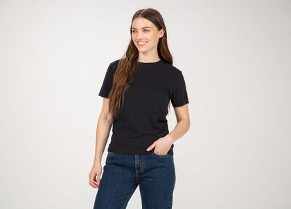 Front of womens black, organic cotton, sim fit t-shirt by Finisterre