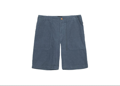 Front  of mens navy corduroy shorts by Finisterre