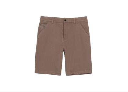 Front of mens brown organic cotton shorts by Finisterre