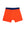 Front of orange merino wool boxers with navy waistband from Finisterre