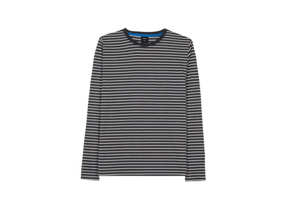 Front of womens dark grey/white striped, organic cotton, long sleeve t-shirt by Finisterre