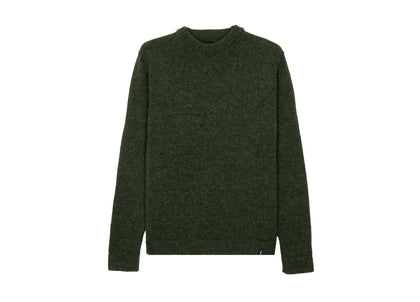 Front of mens dark green wool and alpaca jumper by Finisterre