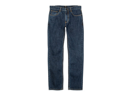 Front of mens bright indigo slim fit organic cotton denim jeans by Finisterre