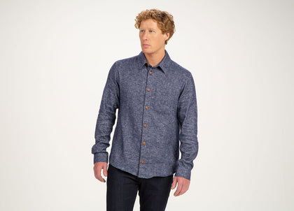 Front of mens blue, organic cotton/linen shirt by Finisterre