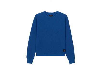 Front of womens blue, recycled yarn, crew neck jumper by Finisterre