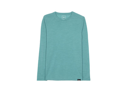 Front of womens light blue, long sleeve merino base layer by Finisterre