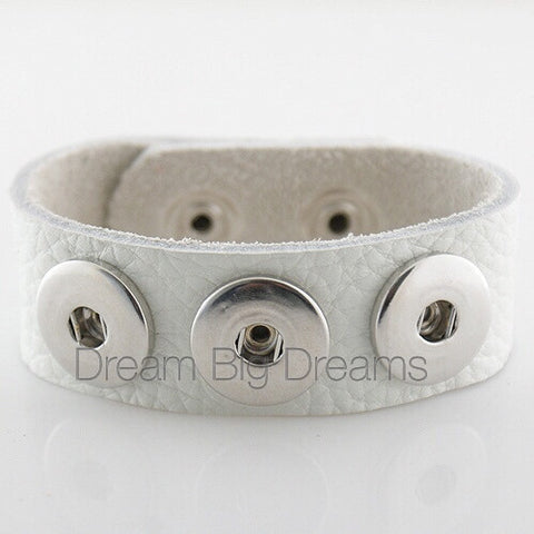CHERYL 18-24mm  Gray Three Chunk Real Leather Snap Bracelet
