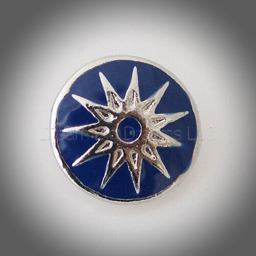 Indy Sunburst Blue Mini 12mm Snap Button