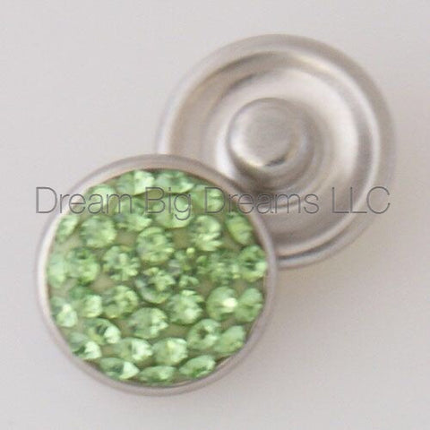 CLAIRE Lime Green Glitz Crystal Mini 12mm Snap Button