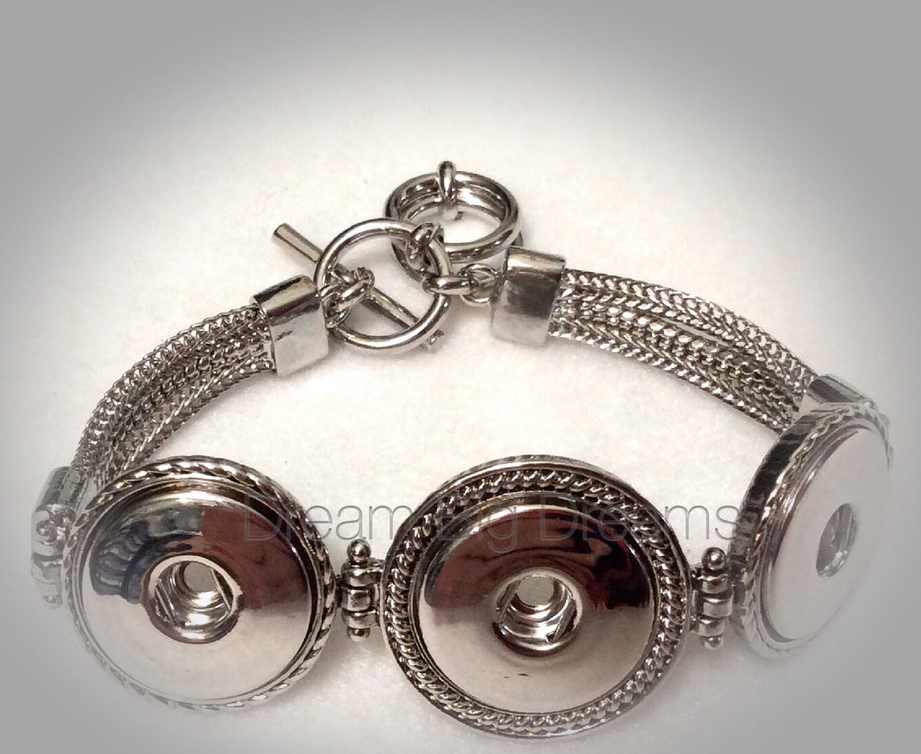 AUBREY 18-24mm  Antique Siver Three Chunk Snap Bracelet