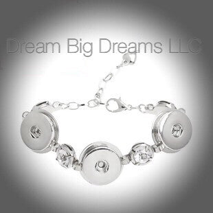 EDA 18-24mm Silver Clear Rhinestone Three Chunk Snap Bracelet