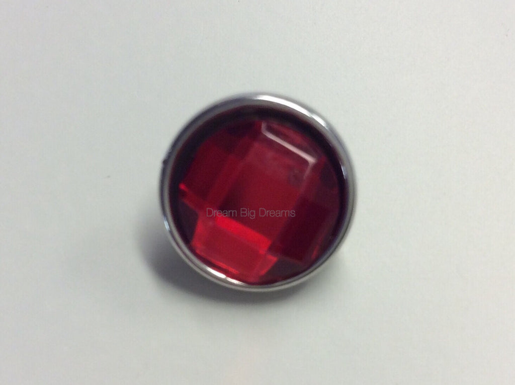KEARSTIN Ruby Red Faceted Crystal Mini 12mm Snap Button