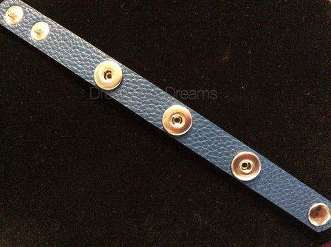 Blue 12mm Three Chunk Real Leather Snap Bracelet
