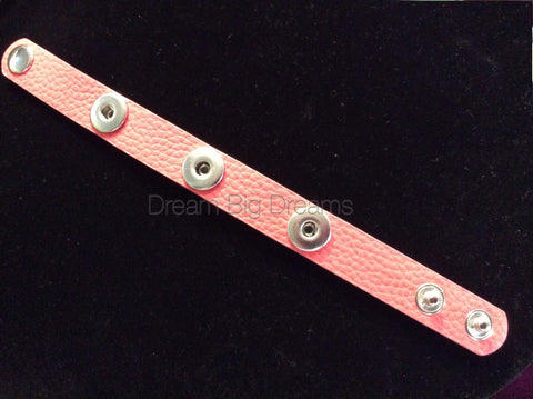 Peachy Pink 12mm Three Chunk Real Leather Snap Bracelet