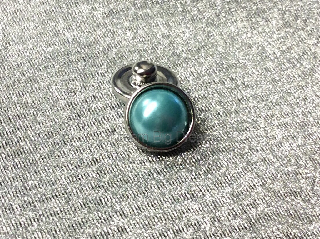 HAVEN Teal Mini Pearl 12mm Snap Button