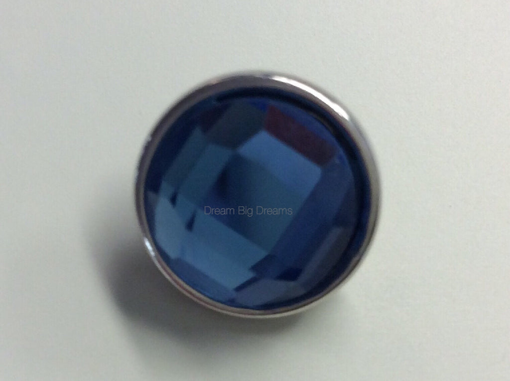 NICOLE December Blue Faceted Crystal Mini 12mm Snap Button