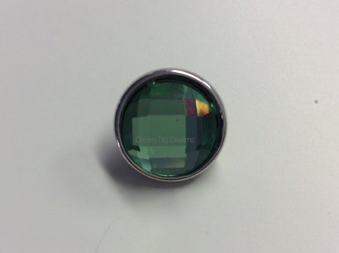 CARRIE Pale Green Faceted Crystal Mini 12mm Snap Button