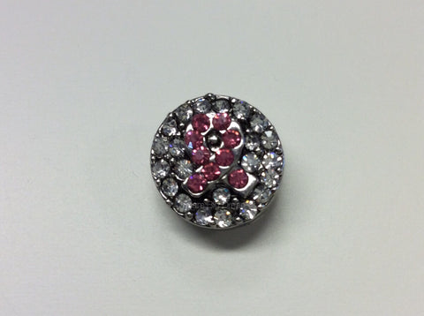 CYNTHIA Breast Cancer Awareness RhineStones Mini 12mm Snap Button