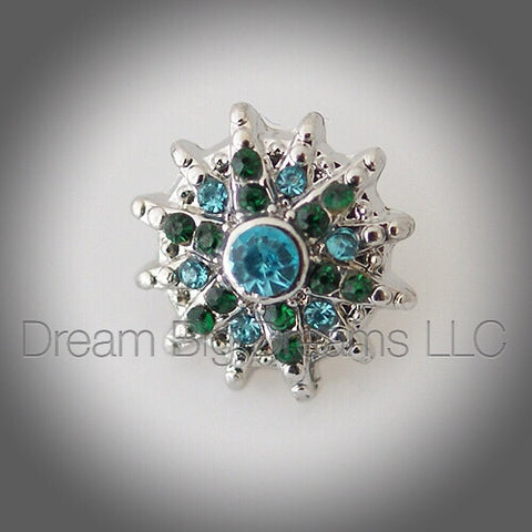 ZOEY Emerald & Aqua Blue Mini 12mm Snap Button