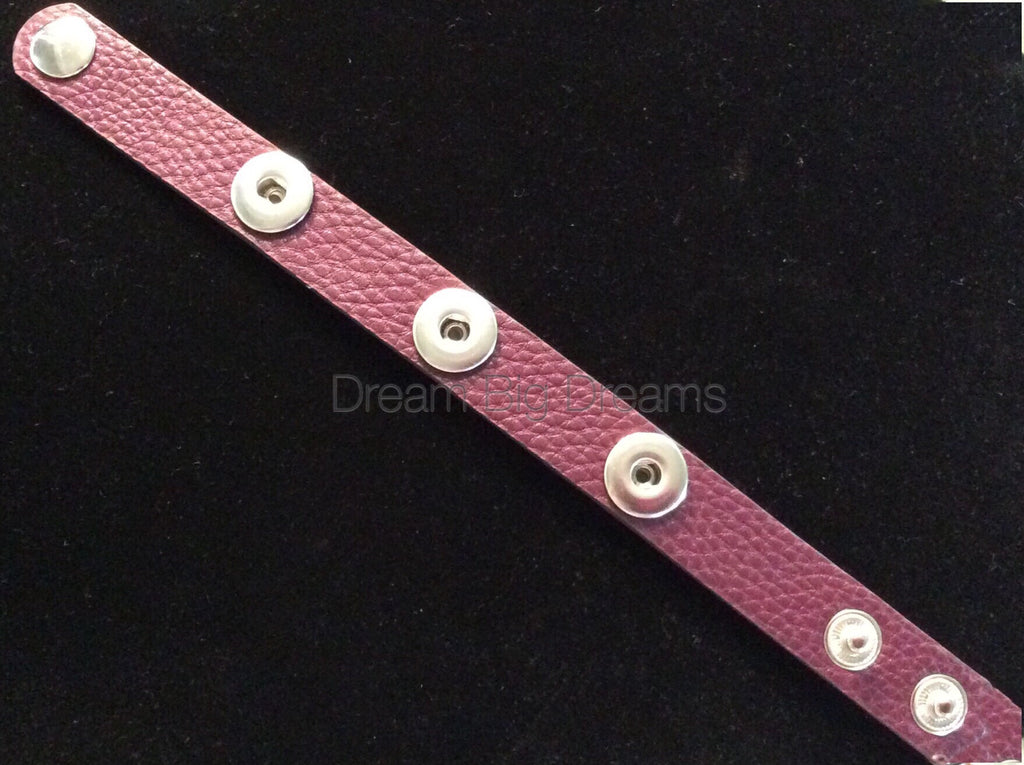 Purple 12mm Three Chunk Real Leather Snap Bracelet