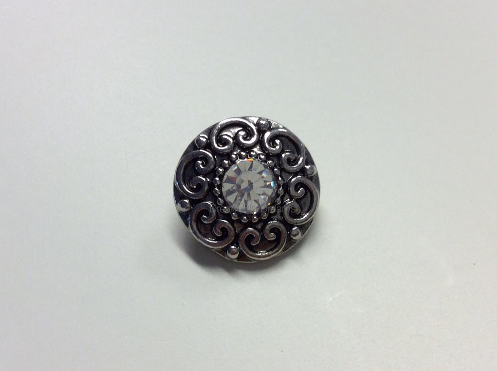 IVORY Crystal Gem Mini 12mm Snap Button