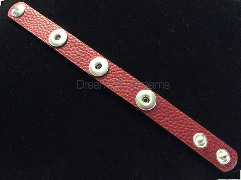 Dark Red 12mm Three Chunk Real Leather Snap Bracelet