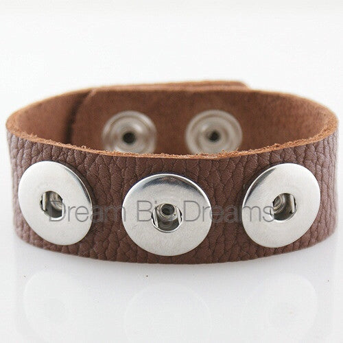 Jasey 18-24mm Brown Three Chunk Real Leather Snap Bracelet