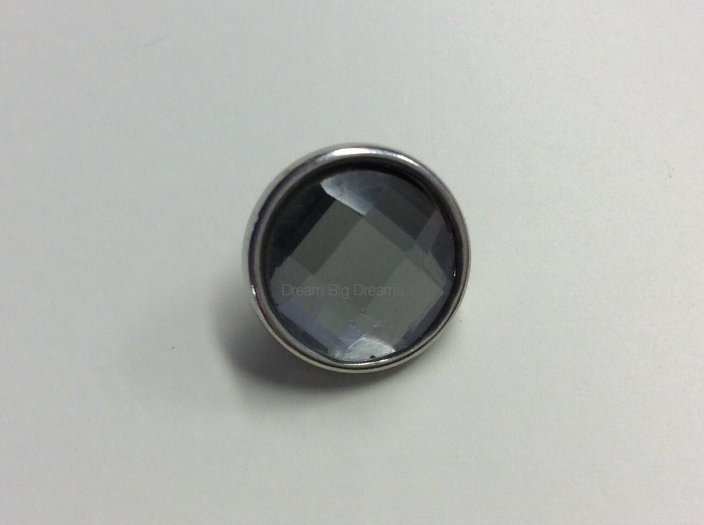 OPAL Smoked Gray Faceted Crystal Mini 12mm Snap Button