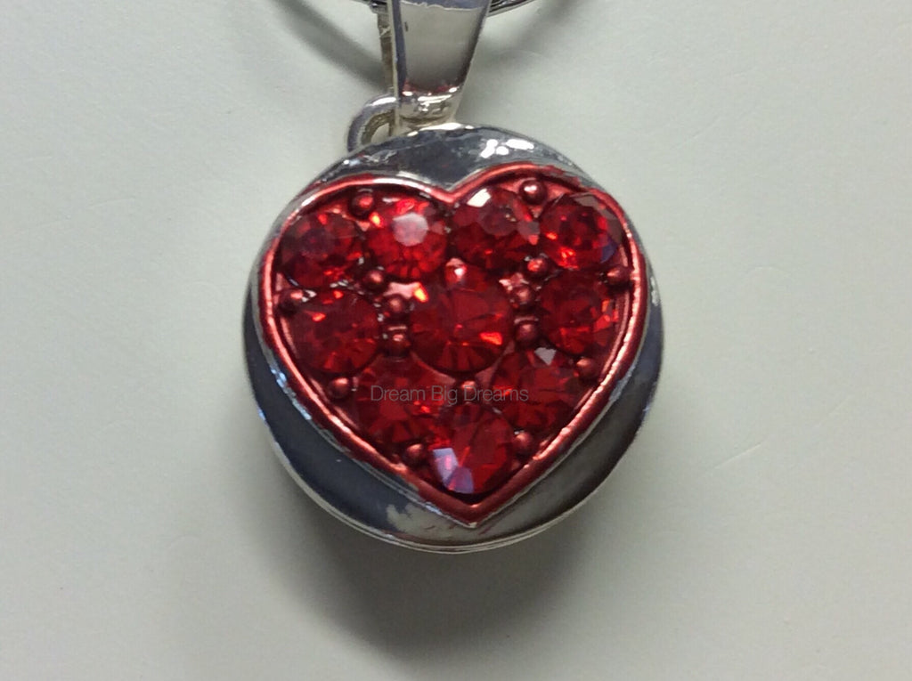 SAGE Cluster Heart Red Rhinestone Mini 12mm Snap Button