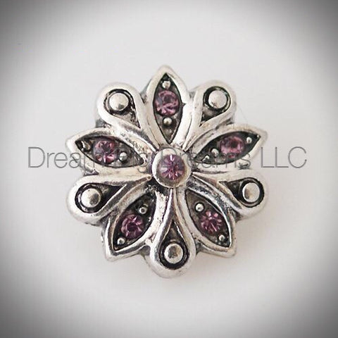 ZINNIE Purple Rhinestone Mini 12mm Snap Button