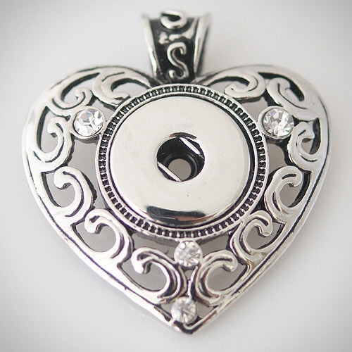 DARBY HEART Designed Pendant fits 18-24mm Snap buttons