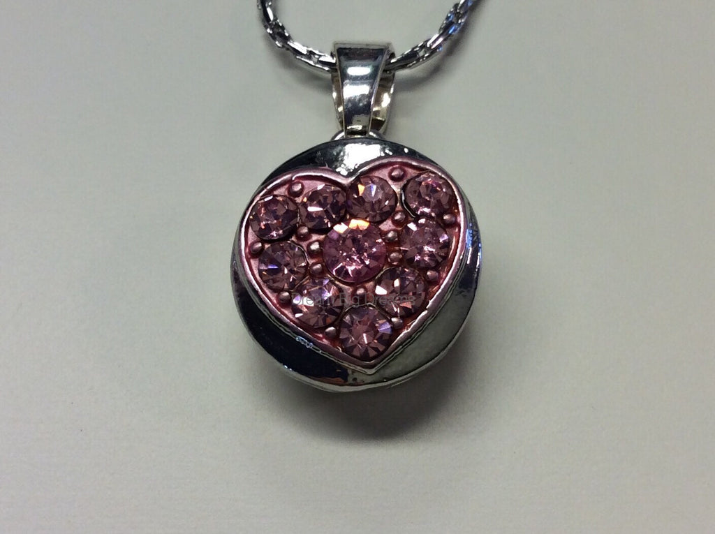 PAIGE Cluster Heart Pink Rhinestone Mini 12mm Snap Button