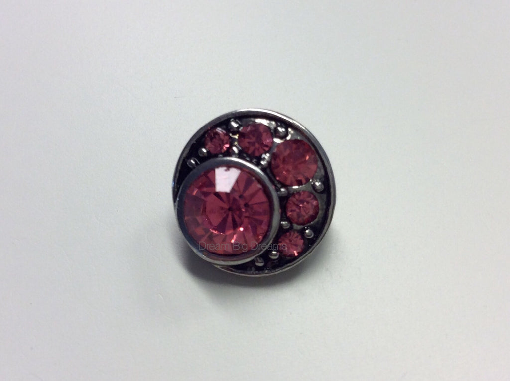 VIOLET Pink Rhinestones Mini 12mm Snap Button