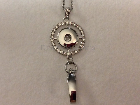 ANITA 18-24MM Single Chunk Snap Hook Pendant with Rhinestones