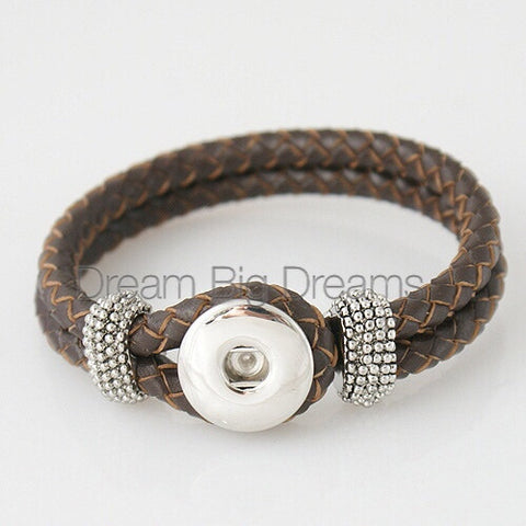 PATSY 18-24mm  One Chunk Real Leather Snap Bracelet