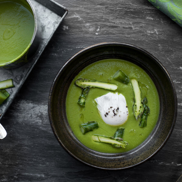 Asparagus Soup served with Poached Eggs and Crispy Ham by Tom Kitchin, Chef Proprietor of Michelin-starred restaurant The Kitchin, Edinburgh