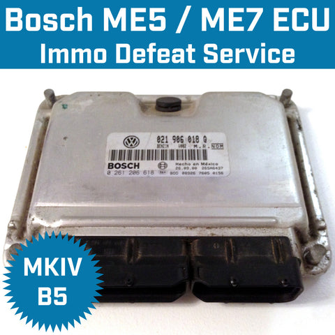 VW & Audi ME7 ECU Immobilizer Cancel / Defeat / Delete / Off Service