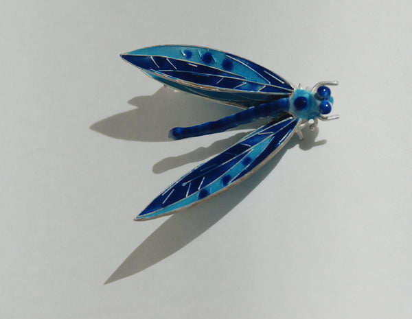 Broach, Fabricated silver Dragonfly with enamel