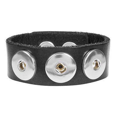 Ginger Snaps 3 Snap Leather Bracelet - Black