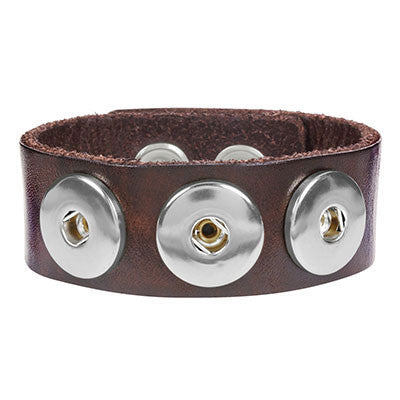 Ginger Snaps 3 Snap Leather Bracelet - Dark Brown