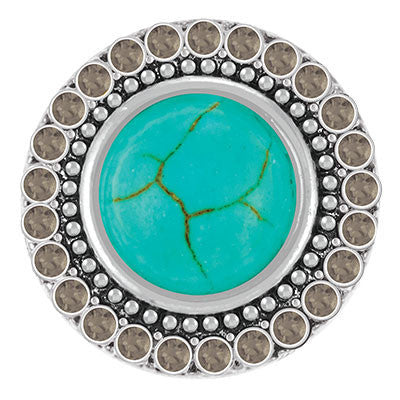 Ginger Snaps Turquoise with Black Diamond Crystals Snap