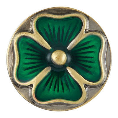 Ginger Snaps Brass Green Clover Snap