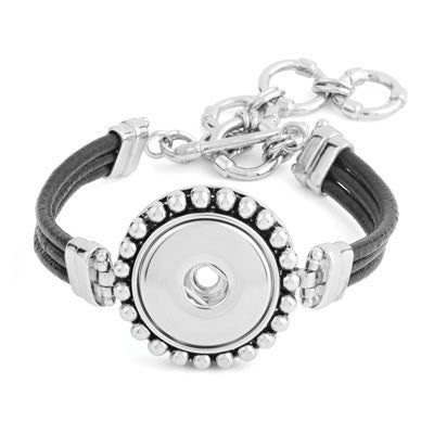 Ginger Snaps Black Leather Bumpy Bracelet