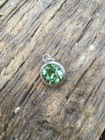 August Silver + Crystal Birthstone Pendant