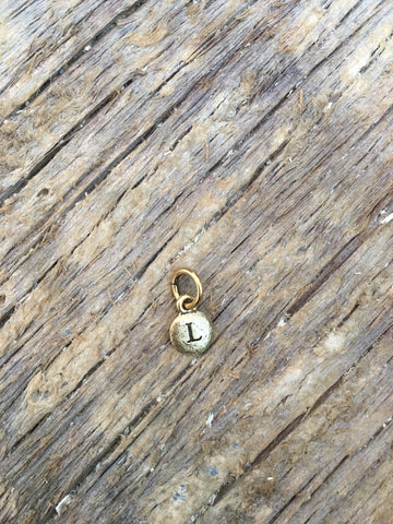 Charm Gold 2 Sided Tiny Monogram L